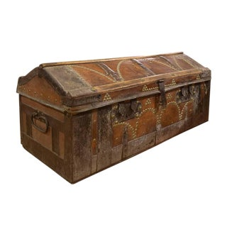 Italian Leather and Wood Trunk