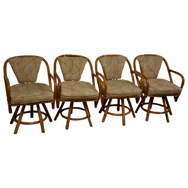 Bamboo Swivel Dining Chairs - Set of 4 - Image 1 of 11