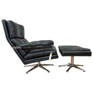 Vintage Swedish Leather Lounge Chair & Ottoman