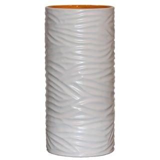 Large White Grooved Sonoma Vase