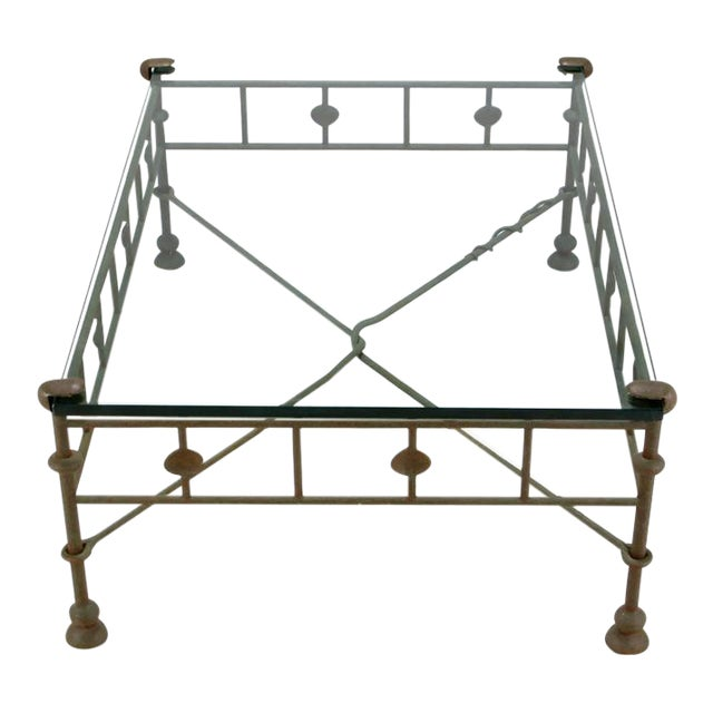 Image of Giacometti-Style Patinated Hand-Wrought Iron and Glass Coffee Table