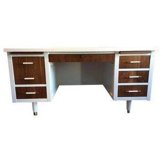 Bianca Mid Century Modern White & Walnut Desk