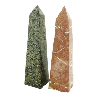 Marble & Fossil Stone Obelisks - A Pair