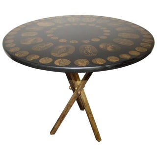 Fornasetti Sculptural Coin Motif Brass Tripod Table