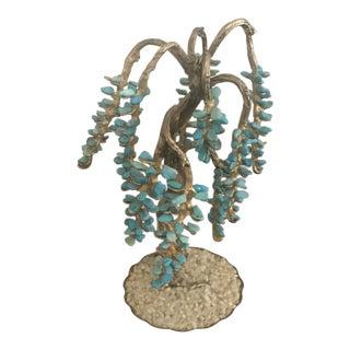 Turquoise & Brass Jewel Tree Figurine