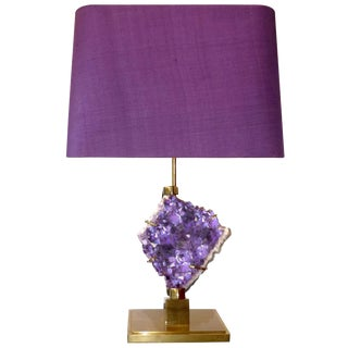 Bronze and Amethyst Lamp Attributed to Willy Daro / 7172