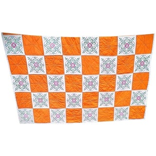 Hand Sewn Orange Patchwork Quilt