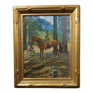 Karl Yens -Woman on horseback in Yosemite valley-California Impressionist Oil painting-1909