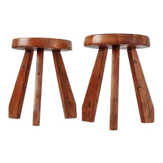 Charlotte Perriand Pair of Les Arcs Stools, France, 1960s