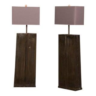 Tall Hand Made Iron Floor Lamps, Custom Shades, France