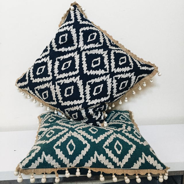Blue Tribal Pillows - A Pair - Image 3 of 6