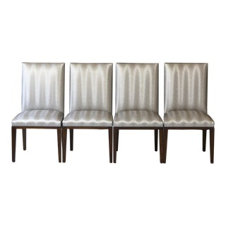 Set of Four Custom Made Dining Chairs in Silver Faux Leather