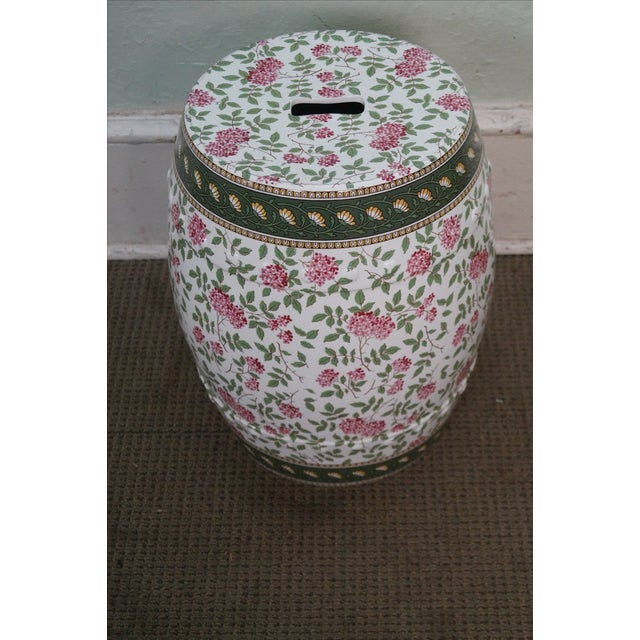 Vintage Floral Pattern Pottery Garden Seat - Image 9 of 10