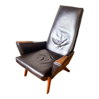 Mid-Century Modern High Back Walnut & Black Leather Lounge Chair