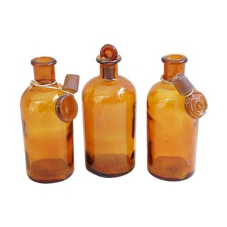 Antique French Apothecary Bottles - Set of 3