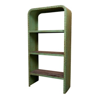 Green Industrial Steel & Teak Wood Bookshelf