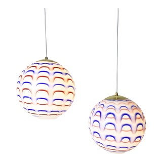 Murano Red White and Blue Globe Pendant Lights 1960s