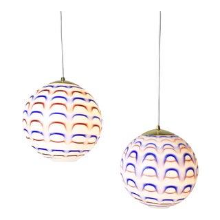 Murano Red White and Blue Globe Pendant Lights 1960s