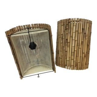 Small Bamboo Wall Sconces - A Pair
