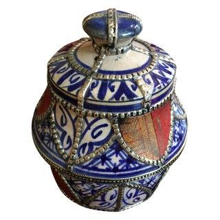 Moroccan Blue & White Jar