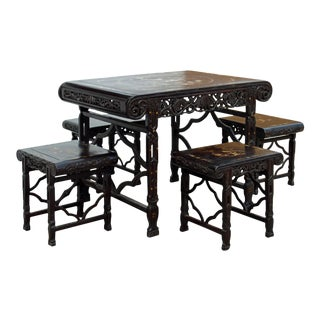 Chinese Dark Brown Huali Rosewood Mother of Pearl Inlay Table & Chairs - Set of 5