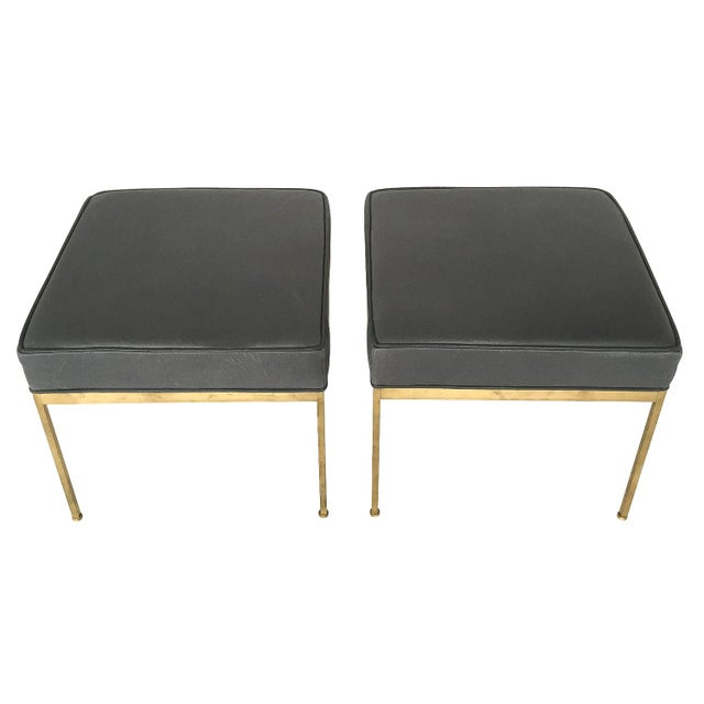 Lawson-Fenning Square Brass and Black Leather Ottomans - a Pair - Image 3 of 8