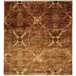"""Eclectic, Hand Knotted Square Rug - 4' 1"""" x 4' 3"""""""