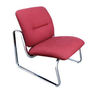 Vintage Metal & Fabric Red Lounge Chair by Steelcase