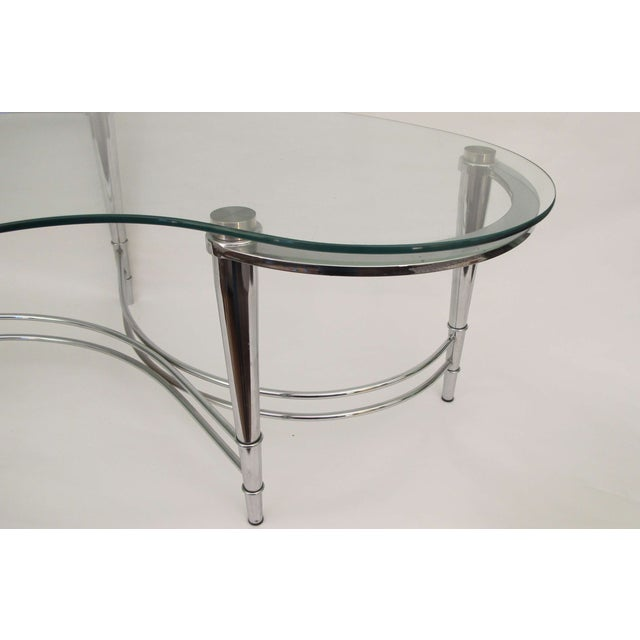 Image of 1980's Kidney Shaped Chrome Coffee Table