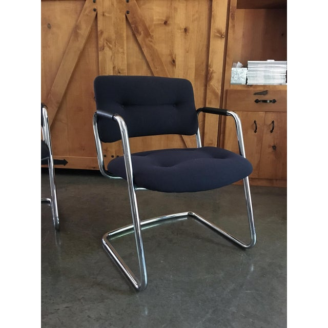 Mid-Century Cantilever Chrome Armchairs - A Pair - Image 5 of 9