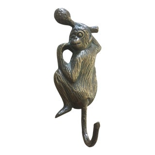 Vintage Solid Brass Monkey Wall Hook