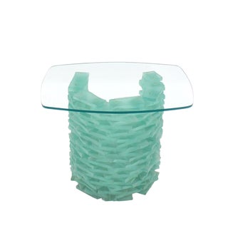 """Stacked Glass """"Ice Block"""" Base Side Table"""