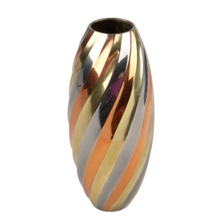 Brass, Copper and Chrome Vase