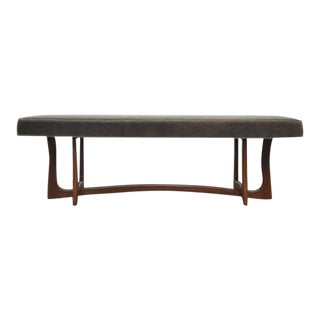 Mid-Century Sculptural Walnut Bench