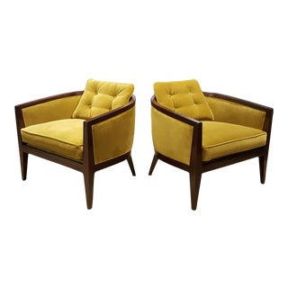 Harvey ProbberTea Green Velvet Lounge Chairs - A Pair