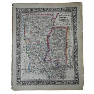 Antique Map of Louisiana, Mississippi & Arkansas