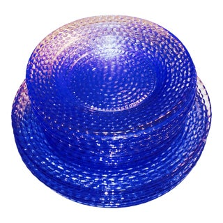 Murano Cobalt Blue Glass Plates - Set of 12