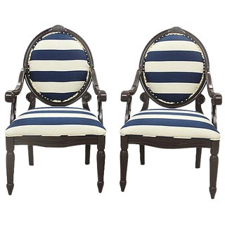 Louis XVI Style Oval Armchairs - A Pair