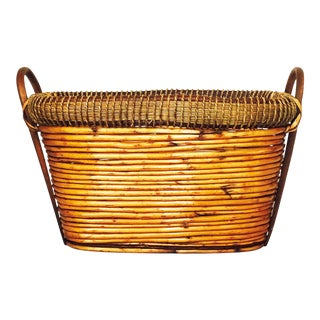 Large Vintage Oval Coil Basket