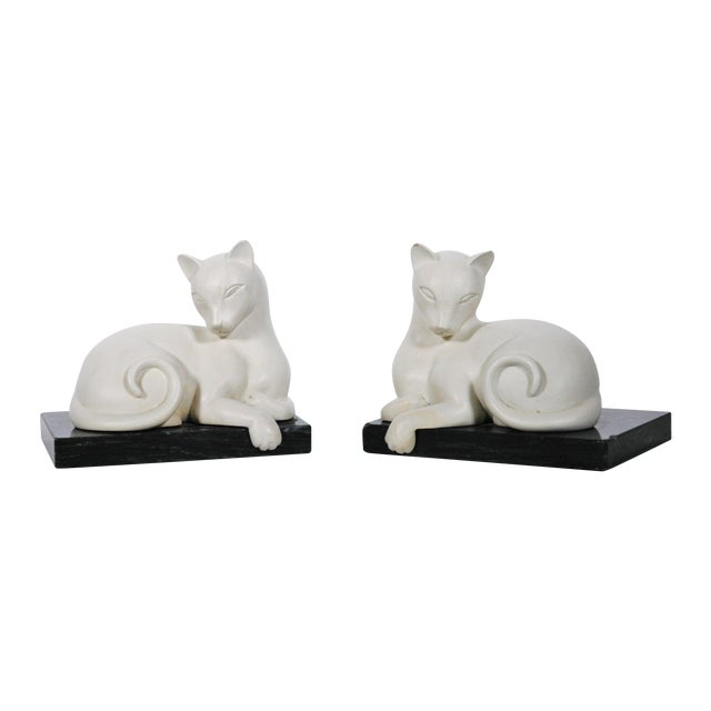 Art Deco White Alabaster Cat Bookends - Image 1 of 5