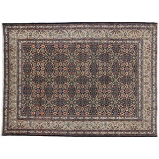 "Vintage Persian Mashad Wool Rug - 8'5"" X 11'2"""