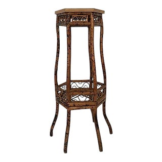 Chinese Chippendale Scorched Bamboo Stand