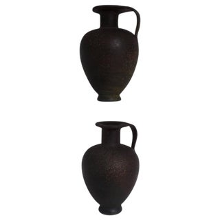 Pair of French Modern Neoclassical Vases/Amphora in Bronze Patina