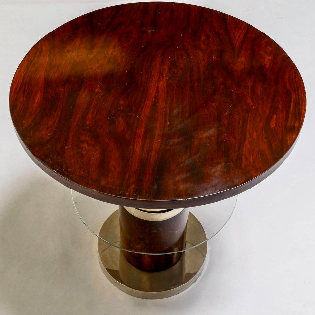French Art Deco Macassar and Glass Table with Chrome Base - Image 6 of 7
