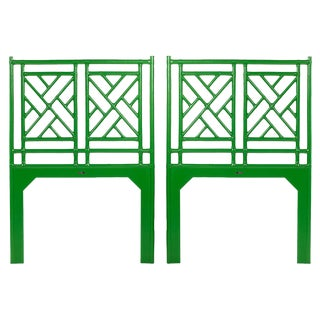 Chinese Chippendale Twin Headboard Set - A Pair