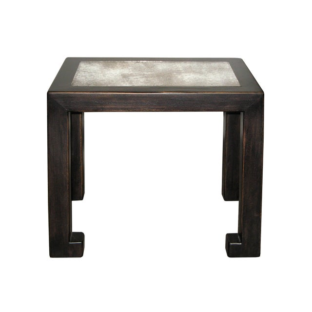 Antiqued Black Lacquer Mirrored Side Table - Image 2 of 5