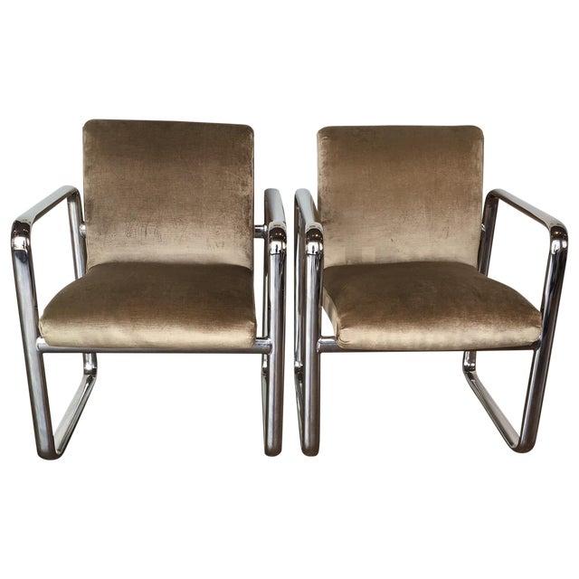 Vintage Acardia Chrome & Velvet Chairs - A Pair - Image 1 of 7