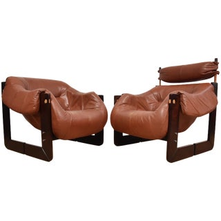 Percival Lafer Leather Lounge Chairs- A Pair