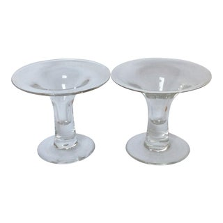 Scandinavian Glass Candle Holders - A Pair