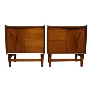 Sculpted Walnut Nightstands - A Pair